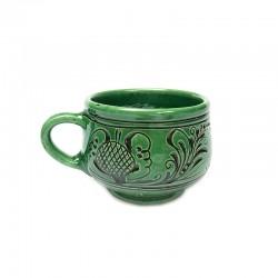 Ceașcă din ceramică verde de Corund